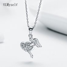 New 925 Sterling Silver Pendant Necklace Cute Angle Love Jewelry Zircon stones Wonderful Suspension Jewellery