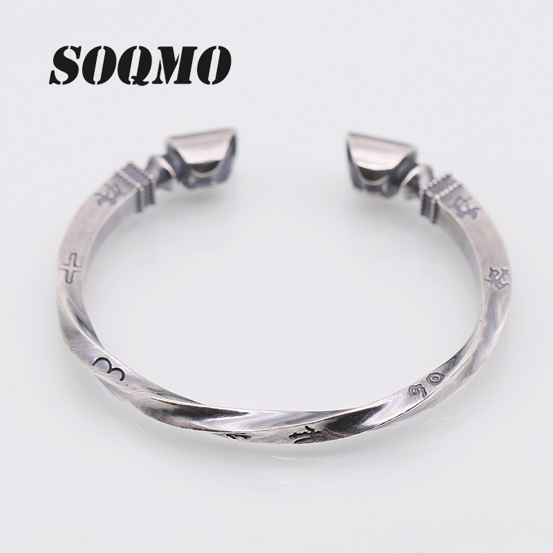 SOQMO Solid 925 Sterling Silver Viking Bracelet Men Vintage Punk Rock Silver Cuff Bangle Open Bracelets Biker Mens Jewelry solid 925 sterling silver flower fashion charm biker bracelet bangle 9a017
