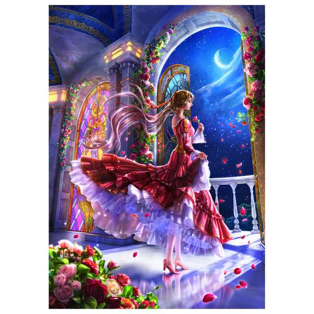 Buy 5D DIY Diamond Painting Japanese Style Girl Anime Manga Comic Cross Stitch