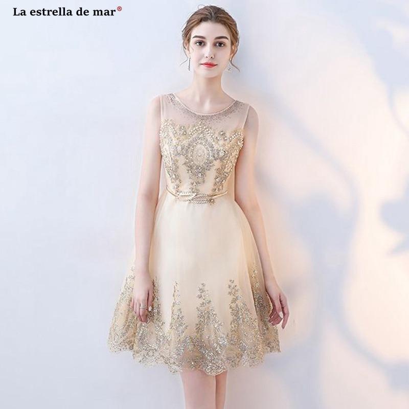 plus size Wedding guest   dress   new Scoop neck lace sequin champagne red gold   bridesmaid     dresses   short robe demoiselle d'honneur
