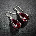 2017 Fashion Jewelry 925 silver dangle Earring For Women  party wedding Simulated Ruby Stone water Drop Earrings  jewelry gift