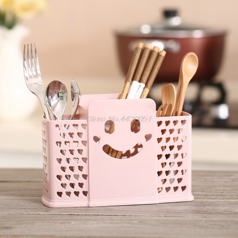 Kitchen Draining Rack Cage Cutlery Chopsticks Spoon Holder Storage Box Plastic