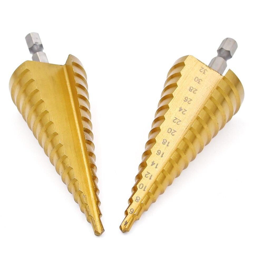1 stück HSS Stahl Titan Schritt Bohrer 4-32mm Schritt Kegel Schneiden Werkzeuge Stahl Holzbearbeitung Holz Metall bohren Set