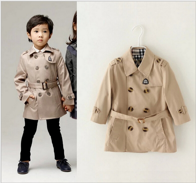 Fashion Spring Autumn boys trench Kids overcoat double breasted Children Outwear boys coat and jacket Baby Clothing B0742