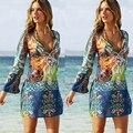 Mujeres beach dress summer dress cortocircuito de la gasa de las mujeres femeninas de manga larga dress 2016 verano flojo ocasional vestido ropa z5