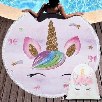 Cartoon Unicorn 150cm Round Beach Towel Wall Tapestry Picnic Blanket Portable Outdoor Sport Storage Bag Bundle Pocket Kids Gift 28