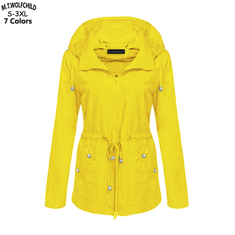 Europe 2018 Spring Autumn Fashion Women New waterproof Coat Medium Long Casual Hooded Coat Female Slim Trench lady outerwear