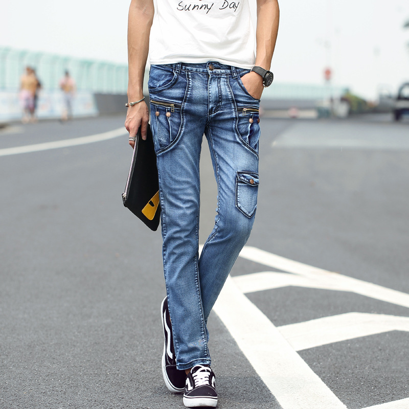 ФОТО Fashion Men's Retro Jeans Vintage Washed Slim Fit Denim Pants Patch Pockets Mens HiP Hop Jean Trousers For Youth