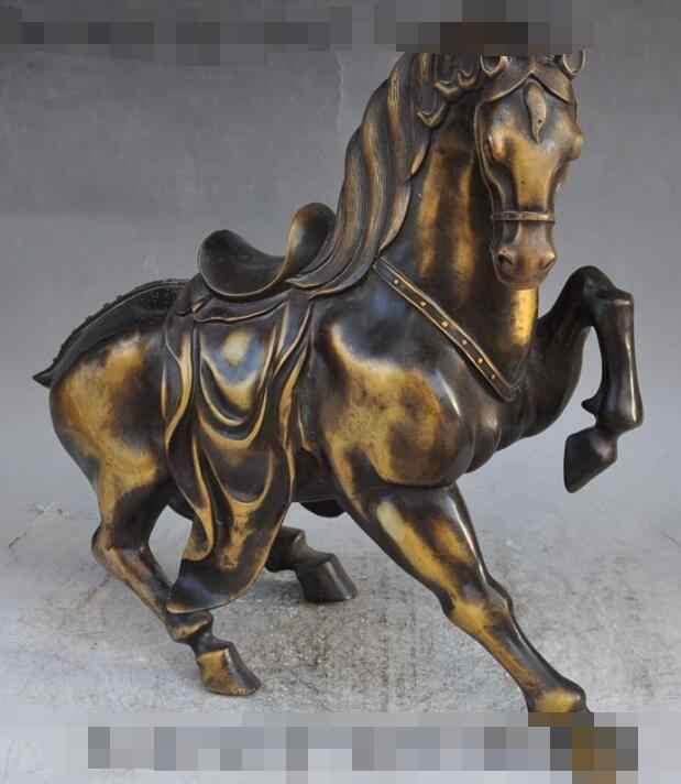 """Zcd voge جوهرة S6685 16 """"لاكي الصينية فنغشوي البرونزي حرب تشغيل الحصان حيوان البروج فرس النجاح تمثال D0318"""
