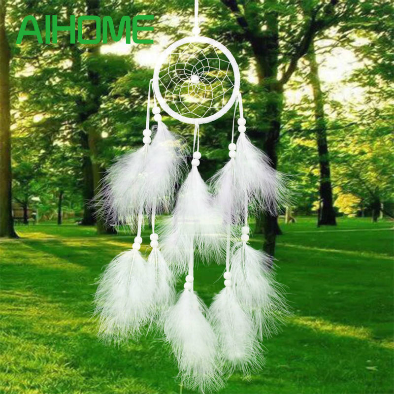 1st Dreamcatcher India Style Handgjord Dream Catcher Net med fjädrar Wind Chimes Hängande Carft Present till Home Car Decoration