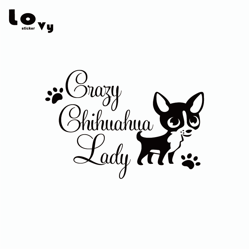 """White 5/"""" I Love My Chihuahua In A Heart Dog Lovers Vinyl Sticker Decals 2"""