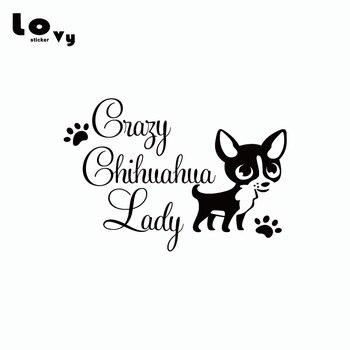 Loco Chihuahua Lady vinilo coche etiqueta cachorro huella de garra coches calcomanía de parachoques del coche ventana puerta, carrocería decoración CA0404