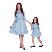 2019 mother baby dresse family mom and daughter matching clothes bows sleeves mommy me outfits for girls mama family look dress