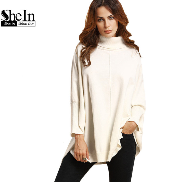 SheIn White Turtle Neck Split Side Batwing Sleeve Sweater Knitted Warm  Sweater Women Fall Winter Pullovers 7f66bec541eb