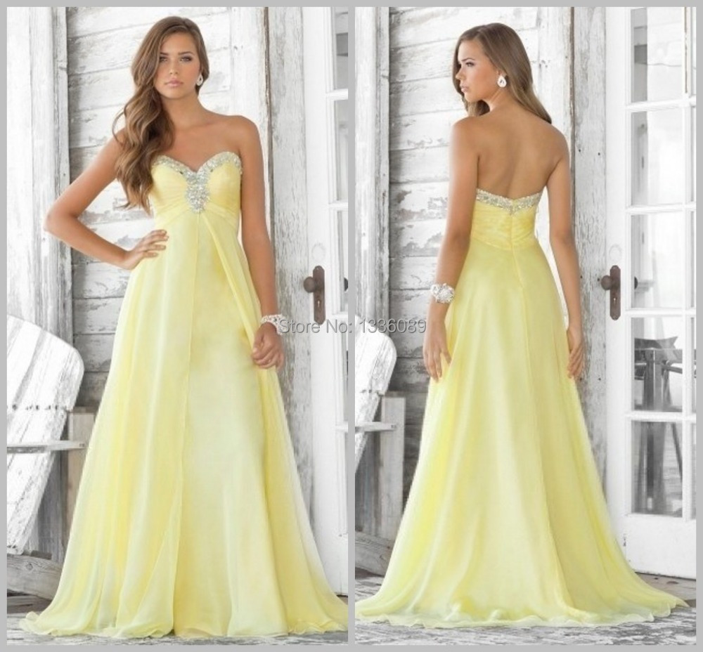 Light Yellow Sweethart Beaded Chiffon Prom Dress 2015 Off ...