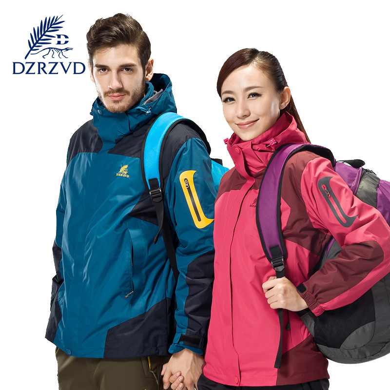 ФОТО DZRZVD  Women Men Winter Sport Jacket Outdoor Windproof Waterproof Hiking Jacket Camping Warm Clothes