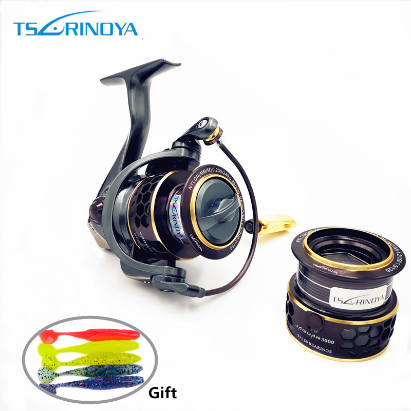TSURINOYA Jaguar 1000 2000 3000 9 1BB Fishing Spinning Reel Carp Saltwater Fishing Reel Spinning Metal Handle 2 Spool Reels Coil