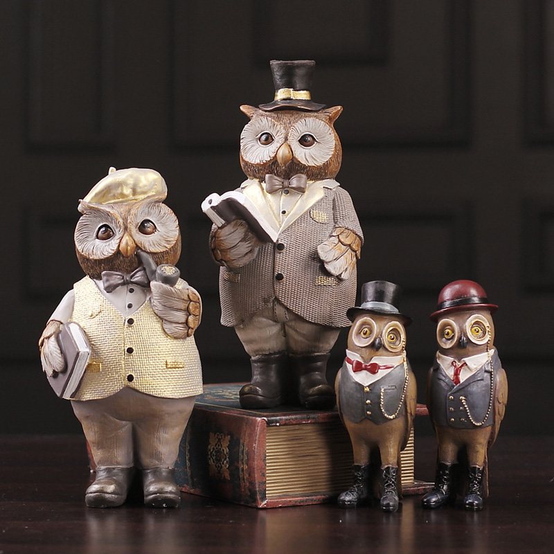 American Style Antique Owl Decorated Home Simple Creative Boy Girl Study Room Wine Cabinet Sample Room Arts and crafts