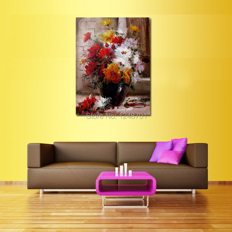 palette font b knife b font vase flower oil painting on canvas home decoration wall picture