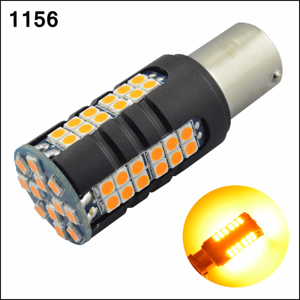 New High power 12W AC12V 24V Car Tail Light 1156 LED Canbus BA15S P21W S25 3030 60SMD Auto Brake Yellow Amber 1A