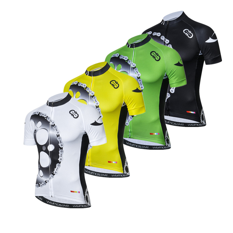 Weimostar Men Cycling Jersey Short Sleeve Antislip Cuff Road Bike MTB Top