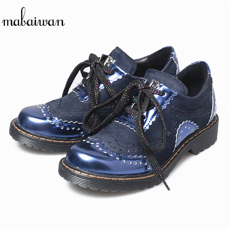 Mabaiwan Fashion Black Blue Women's Shoes Round Toe Lace Up Ankle Boots Geniune Leather Low Square Heel Casual Shoes Women Boots front lace up casual ankle boots autumn vintage brown new booties flat genuine leather suede shoes round toe fall female fashion