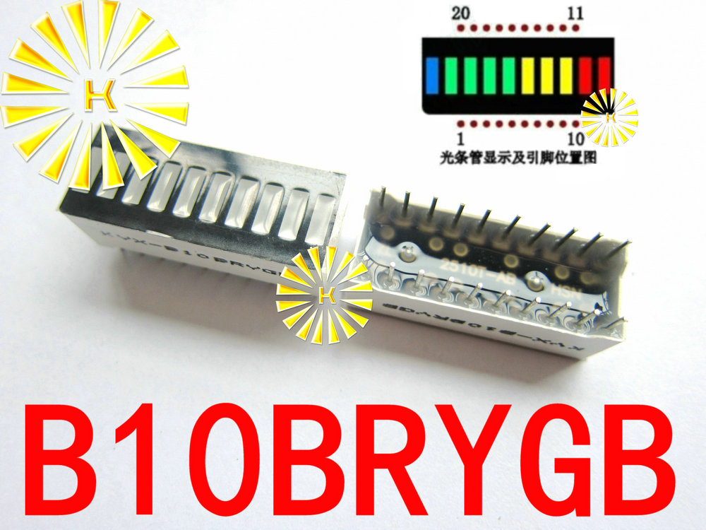 5PCS X 10 Grid Digital Segment LED Light Bar Super Bright 2 Red+3 Yellow+4 Green+1 Blue Light Flat Tube B10BRYGB