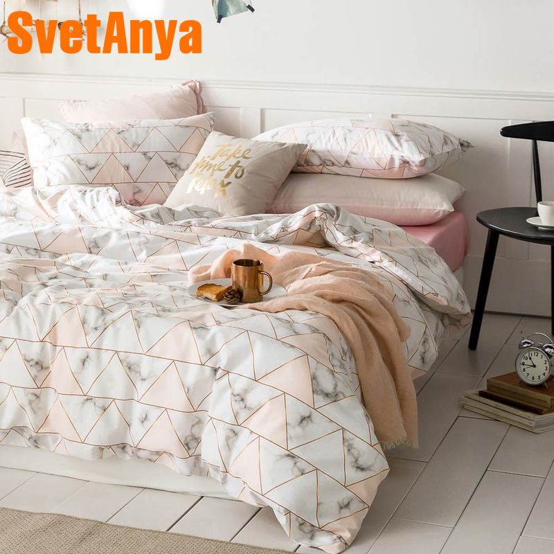 Svetanya Cotton Bedding Set Single Double Bed Linens Simple Style