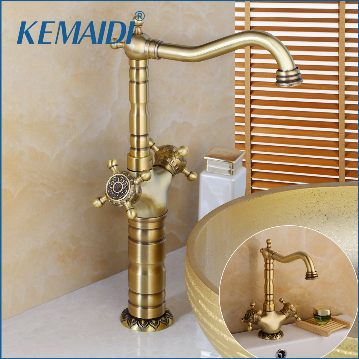 KEMAIDI Elegant Antique Brass Bathroom Sink Faucets Long Short 360 Swivel Mixer Taps Vanity Brass Faucet