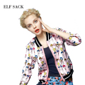 ELF SACK Women Autumn Print Cartoon Stand Collar Jacket Coat 2015 New Arrival Free Shipping
