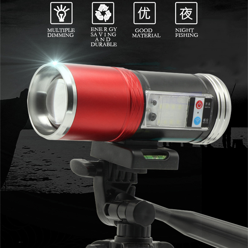 Aluminum Shell Night Fishing Light with Induction Side Lights Rechargeable Blue Light MultipleMode 360Degree Rotation Flashlight