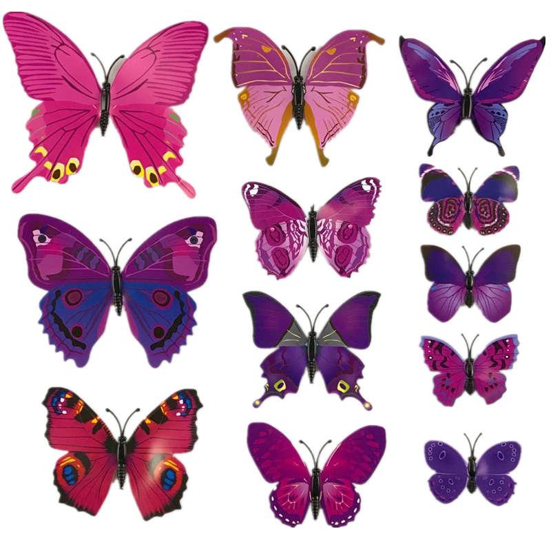 BornIsKing 12Pcs/Lot 3D PVC Magnet Double Butterflies Fridge Magnet DIY Wall Sticker Home Decor New Arrival