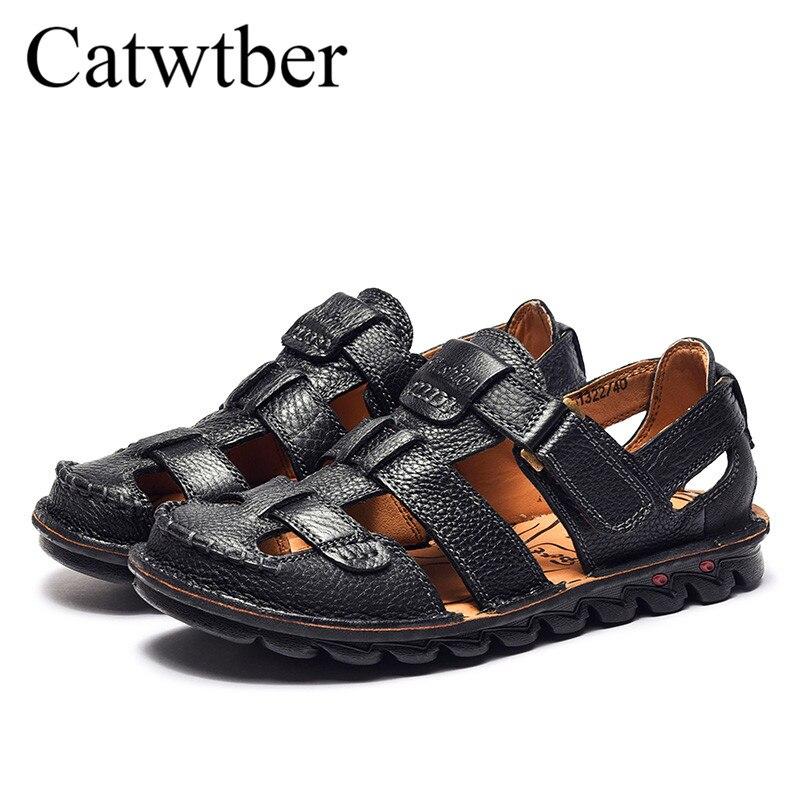 black À De Air Split La New Summer Pantoufles D'été Hommes Brown En Qualité Catwtber Casual Plein Main Cuir Chaussures Plage Sandales Top 0TpW1q