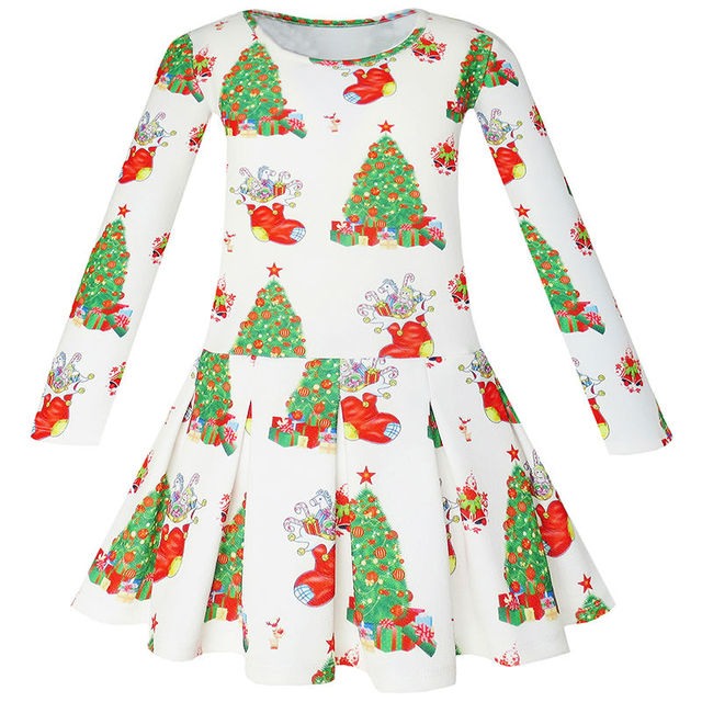 sunny fashion girls dress christmas tree xmas stockings holiday 2018 summer princess wedding party dresses clothes - Xmas Stockings
