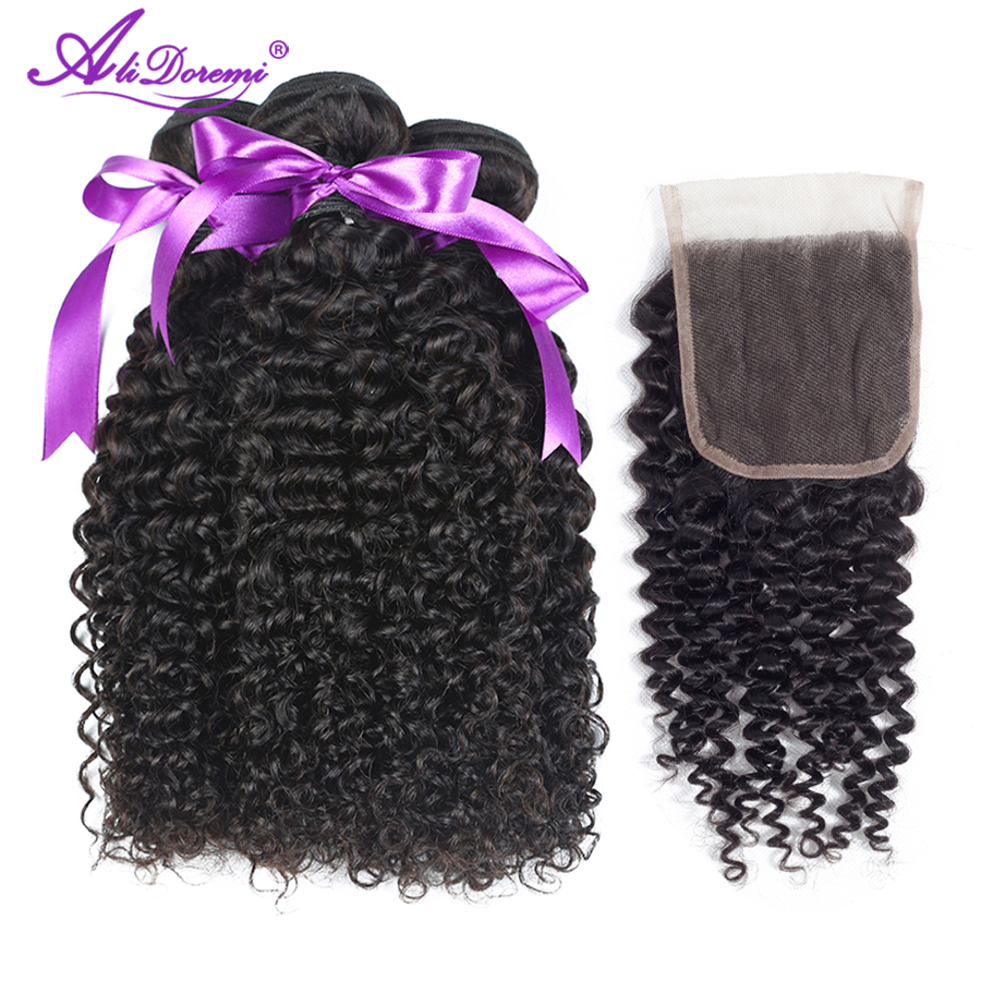 Alidoremi Afro Malaysian Kinky Curly Hair Bundles with Closure Free part 100 Non Remy Human Hair
