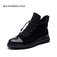 BASSIRIANA 2019 autumn new women's shoes black patent leather and stretch fabric combined with comfortable flat shoes