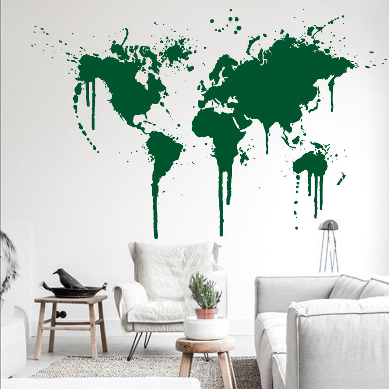 2015 art decor new design spray paint world map wall decal xl 2015 art decor new design spray paint world map wall decal xl creative wall sticker vinyl cheap removable home decor wall papers in wall stickers from home gumiabroncs Images