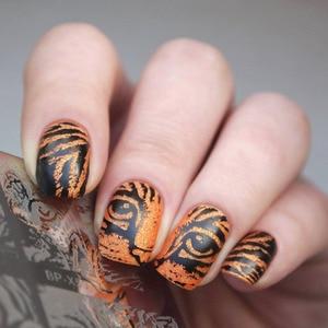 Image 2 - Geboren Mooie Vierkante Nail Stempelen Template Cat Tiger Leopard Eye Nail Art Image Plate Nail Art Print Stencil BP X50