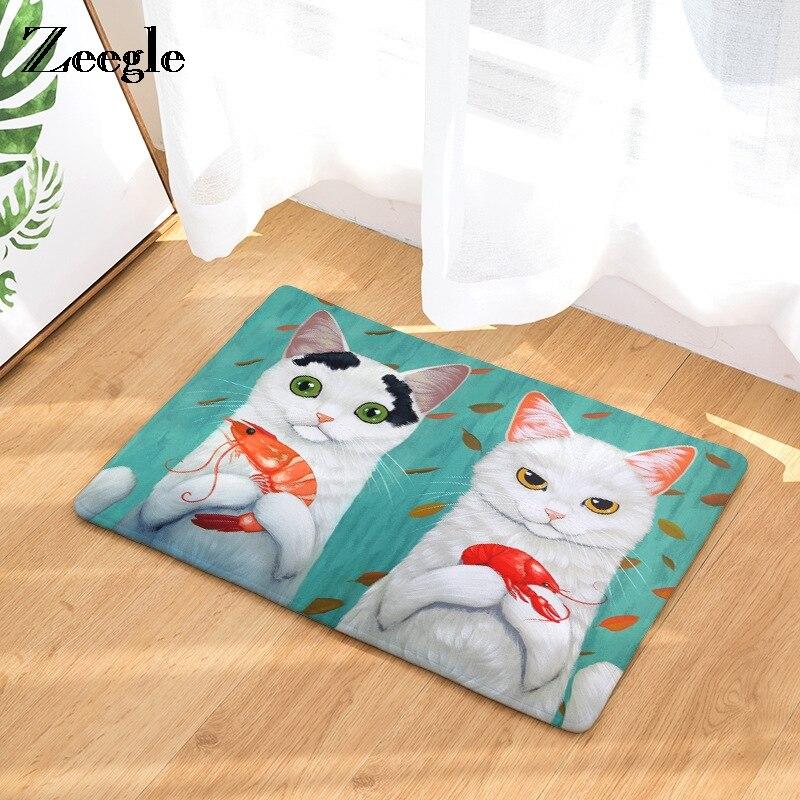 Zeegle Cute Cat Printed Welcome Door Mat Non Slip Bathroom