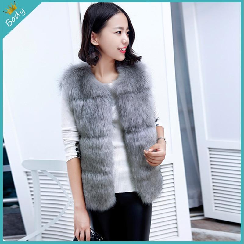 Free Shipping 2015 New Korean Design Faux Fur Coat Warm Soft Fox Fur Vest Winter Sleeveless