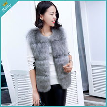 Free Shipping 2015 New Korean Design Faux Fur Coat Warm Soft Fox Fur Vest Winter Sleeveless Jacket Women 3 Colors