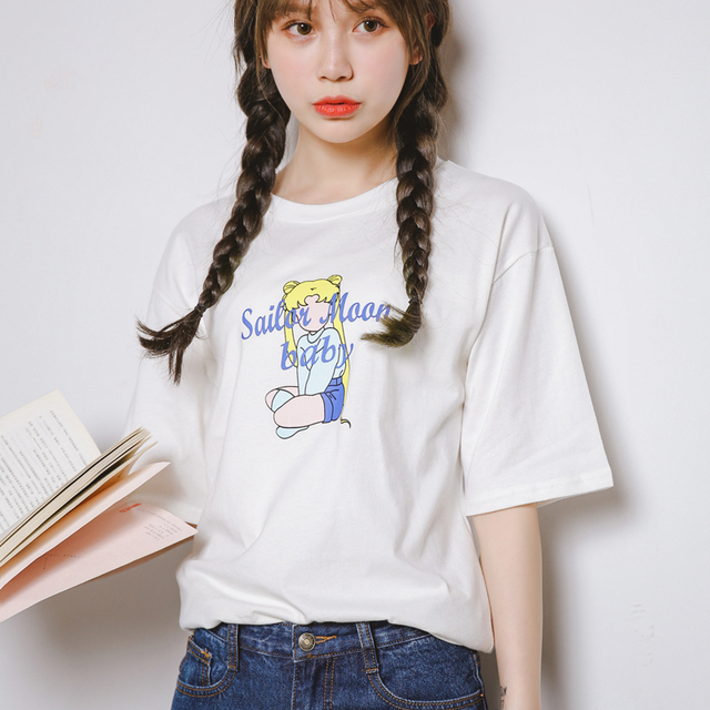 d0f2c8e50 Women Japanese Kawaii Sailor Moon Summer Juniors Pullover Short-Sleeve  Harajuku T-Shirt Punk Tee And Top