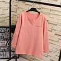 2016 Women Autumn Tops Tees Casual O-neck Plus Size 3XL 4XL Loose Long Sleeve T-shirts Pink Black White Green KK1801