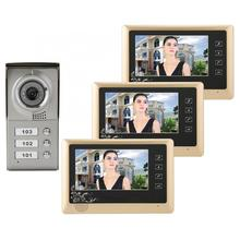 Apartment 3 Units Wired Video Door Phone Audio Visual Doorbell Intercom Entry System Smart door bell motion sensor bell Hot yobang security apartment intercom entry 6 monitor wired 7 color button video door phone intercom system for 6 house