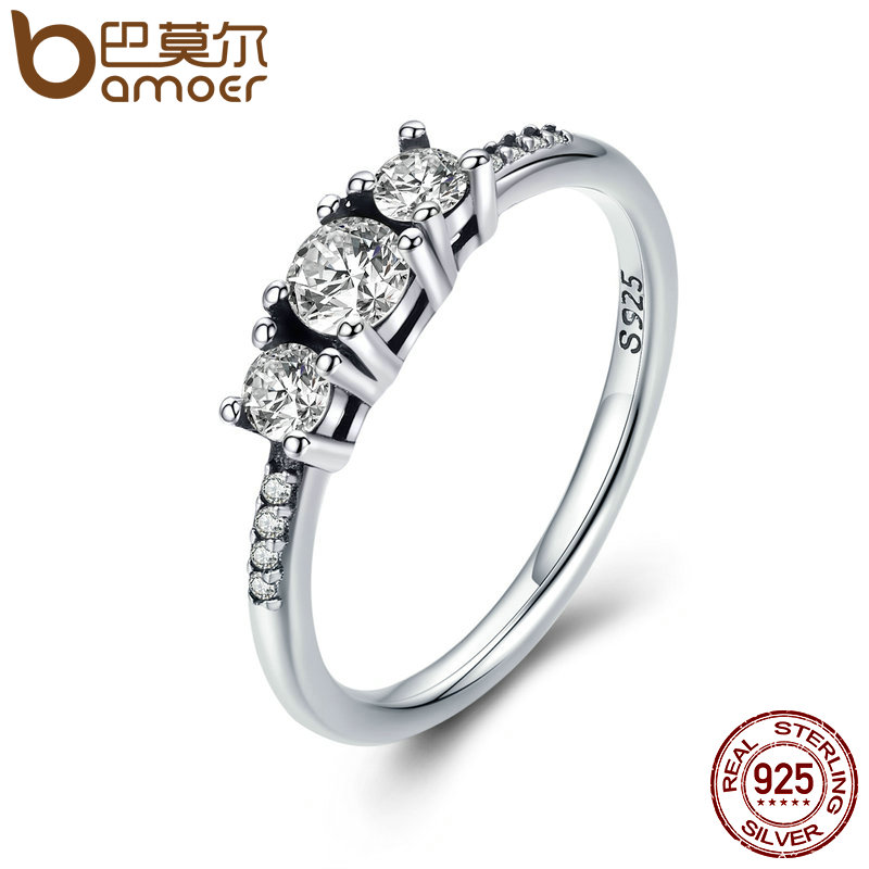BAMOER Real 100% 925 Sterling Silver Fairytale Sparkling Ring, Clear CZ Finger Ring for Women Wedding Engagement Jewelry PA7645 цена 2017