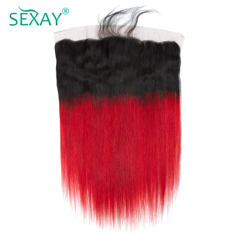 Sexay Red Lace Frontal With Baby Hair Brazilian Straight Human Hair Pre-Colored Dark Roots Ombre Red Human Hair Lace Frontals