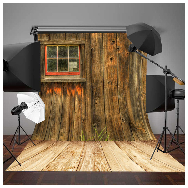 5x7ft Rustic Barn Door Wall Photography Background Yellow Wooden