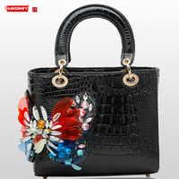 2019 Diamond encrusted Women handbag female Crocodile pattern leather butterfly drill rhinestone color shoulder crossbody bags