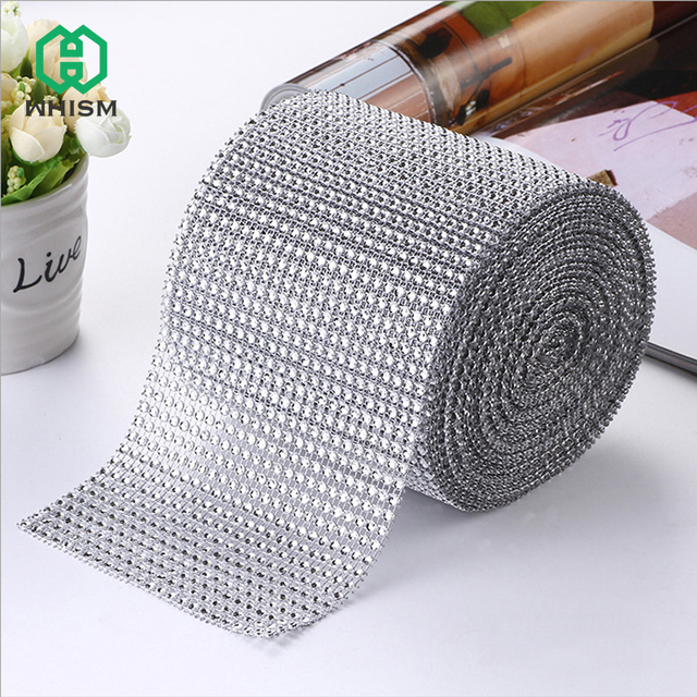 WHISM Silver Rhinestone Roll Tape Tulle Crystal Ribbons Cake Wedding  Decoration Glitter Charming Ribbon Bling Diamond Mesh Wrap 19d9fa5da4aa