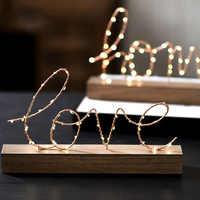 decoration maison Base en bois fer lettres d'amour maison Figurines décoratives lampe à LED lumière chambre disposition décor fête cadeau éclairage lampe de Table